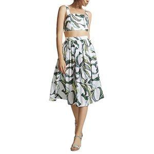 Tropical Leaf Crop Top & Midi Skirt Set